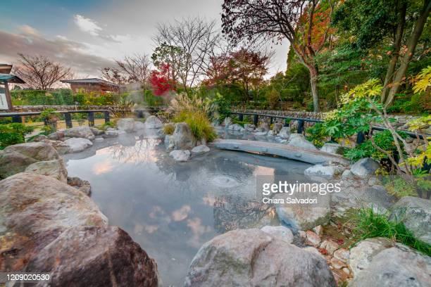 the hells of beppu: oniishibozu jigoku - hot spring stock pictures, royalty-free photos & images