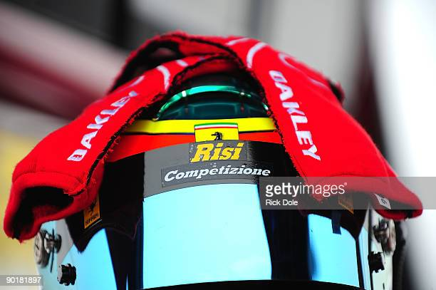 The helmet and gloves of Jamie Melo driver of the Risi Competizione Ferrari 430 GT during practice for the American Le Mans Series Mobil 1 Presents...