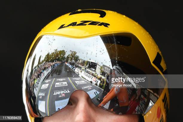 The Helmet of a Netherlands rider during the 92nd UCI Road World Championships 2019 Team Time Trial Mixed Relay a 276km Men Women Team Time Trial...