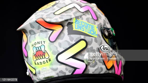 The helmet of Daniel Ricciardo of Australia and Renault Sport F1 is pictured during previews ahead of the F1 Grand Prix of Australia at Melbourne...