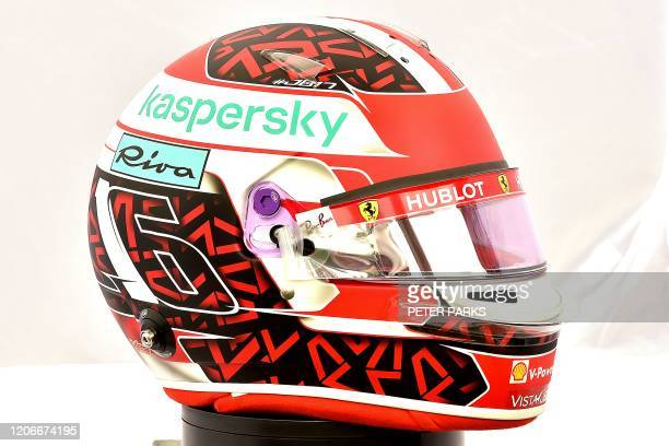 The helmet of Ferrari's Monegasque driver Charles Leclerc is displayed in Melbourne on March 12 ahead of the Formula One Australian Grand Prix /...