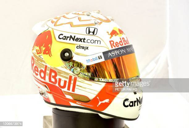 The helmet of Red Bull Racing's Belgian driver Max Verstappen is displayed in Melbourne on March 12 ahead of the Formula One Australian Grand Prix /...