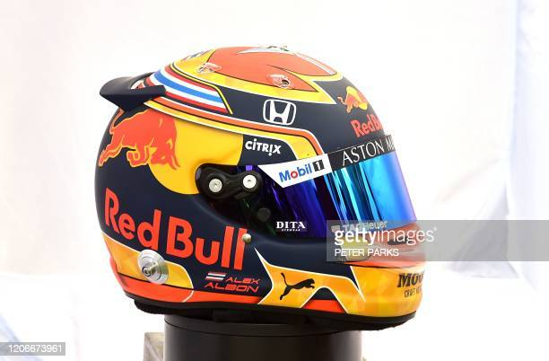 The helmet of Red Bull Racing's Thai driver Alexander Albon is displayed in Melbourne on March 12 ahead of the Formula One Australian Grand Prix /...