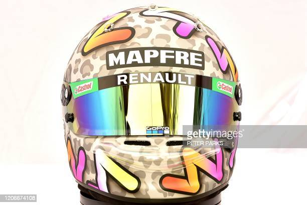 The helmet of Renault's Australian driver Daniel Ricciardo is displayed in Melbourne on March 12 ahead of the Formula One Australian Grand Prix /...