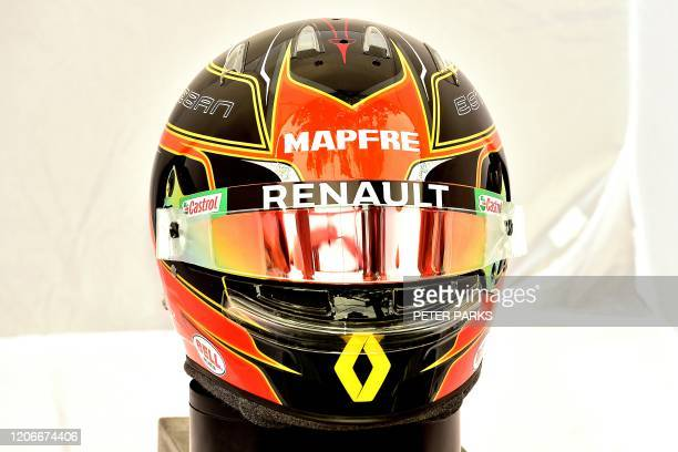 The helmet of Renault's French driver Esteban Ocon is displayed in Melbourne on March 12 ahead of the Formula One Australian Grand Prix / IMAGE...