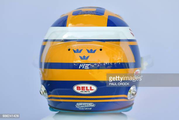 The helmet of Sauber's Swedish driver Marcus Ericsson is displayd ahead of the Formula One Australian Grand Prix in Melbourne on March 22 2018 /...
