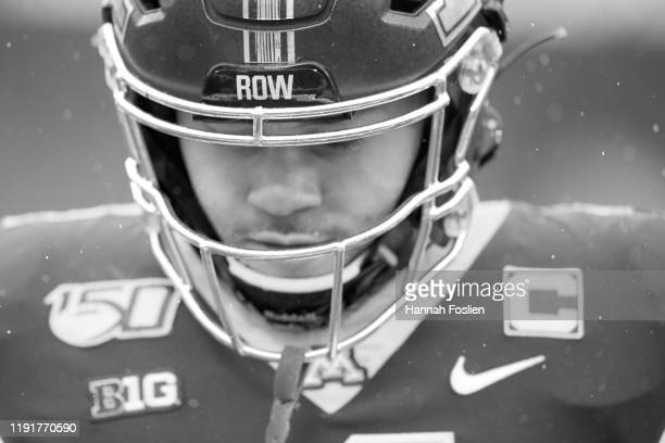 The helmet of Shannon Brooks of the Minnesota Golden Gophers is seen before the game against the Wisconsin Badgers at TCF Bank Stadium on November 30...