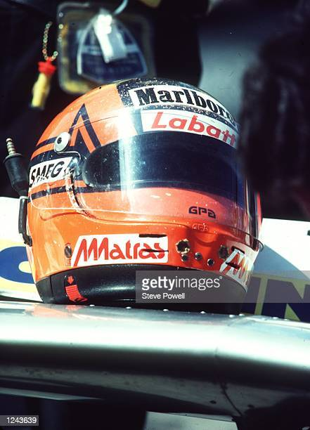 The Helmet of the late Gilles Villeneuve the legendary French Candian driver Gilles Villeneuve was killed at Zolder in 1982 Mandatory Credit Steve...