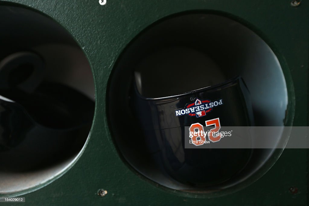The helmet Prince Fielder #28 of the Detroit Tigers in the dugout before their game against the Oakland Athletics Game Five of the American League Division Series at Oakland-Alameda County Coliseum on October 9, 2012 in Oakland, California.