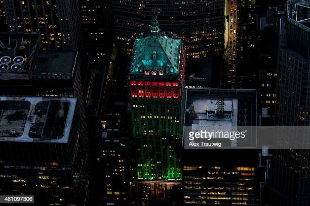 The Helmsley Building lit green and red is seen from above on December 30 2014 in New York City