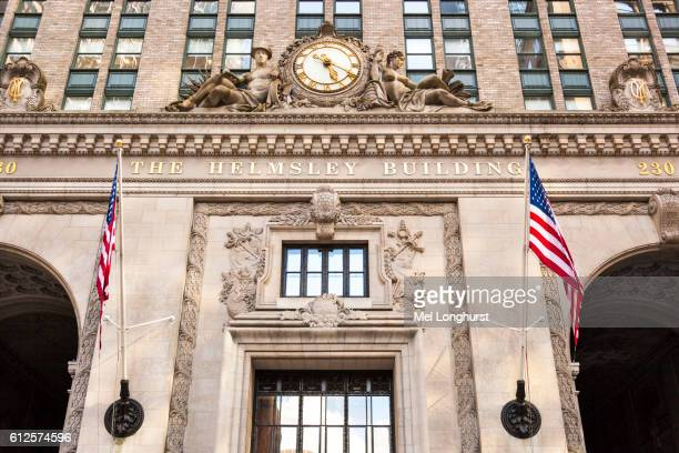 The Helmsley Building, name and clock above entrance, 230 Park Avenue, Manhattan, New York City, New York, USA