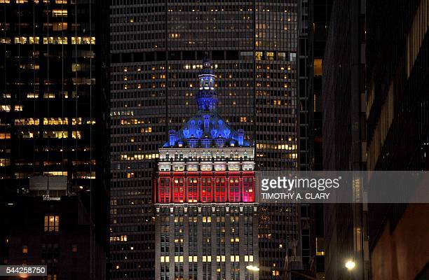 The Helmsley Building on Park Avenue is lit up red white and blue as New York City and the rest of the United States begins to celebrate the 4th of...