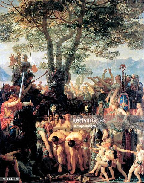 'The Helvetians Force the Romans to Pass Under the Yoke' 1858 The triumph of the Helvetii over the Romans at Agen in 107 BC From a private collection