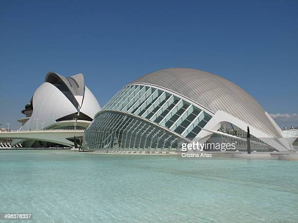 The Hemispheric and behind the Palace of Arts Reina Sofia buildings designed by architect Santiago Calatrava in the complex of the City of Arts and...