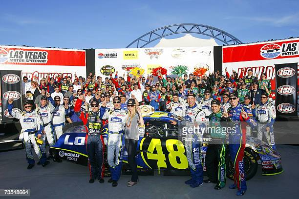 The Hendrick race car drivers stand in victory lane to celebrate the 150 victory for Hendrick Motorsports following the NASCAR Nextel Cup Series...