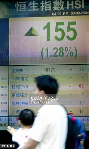 The Heng Seng Index board show the latest figure up to 155 points in Hong Kong on 03 August 2004 The Heng Seng Index has effected to sharply high as...