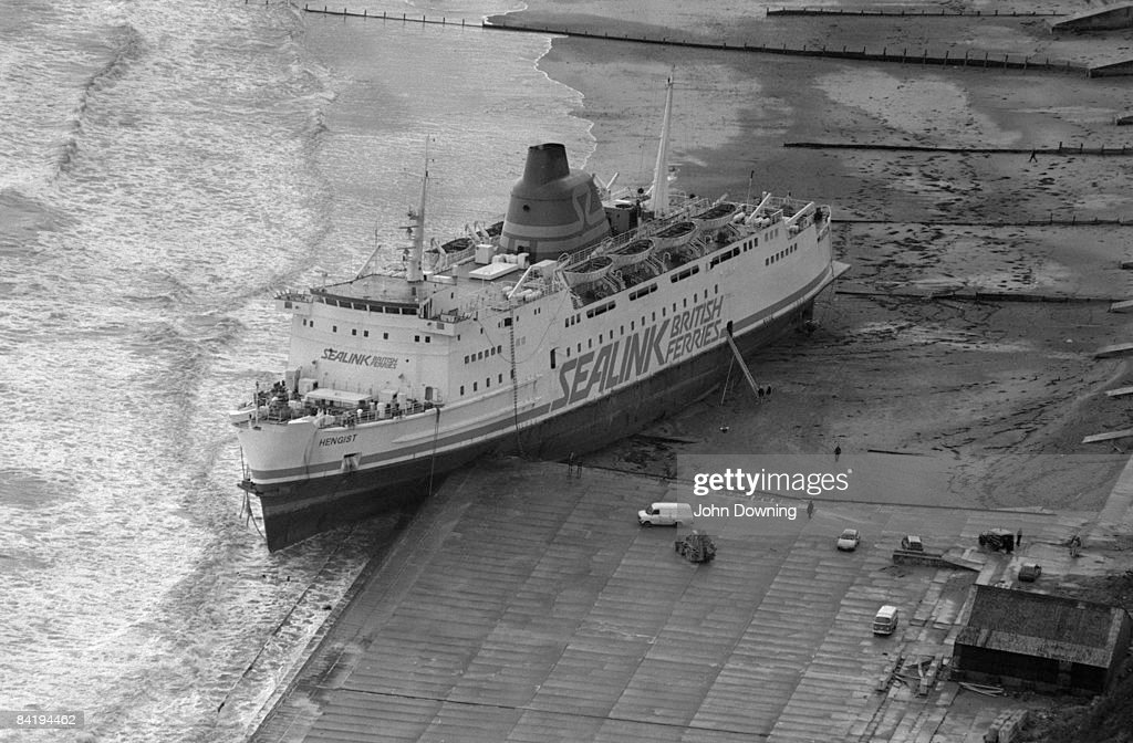 The 'Hengist', a Sealink passenger ferry run aground at Folkestone after the Great Storm in southern England, 17th October 1987.