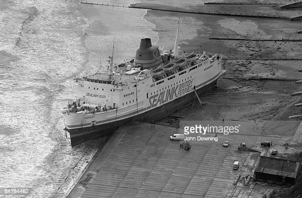 The 'Hengist' a Sealink passenger ferry run aground at Folkestone after the Great Storm in southern England 17th October 1987
