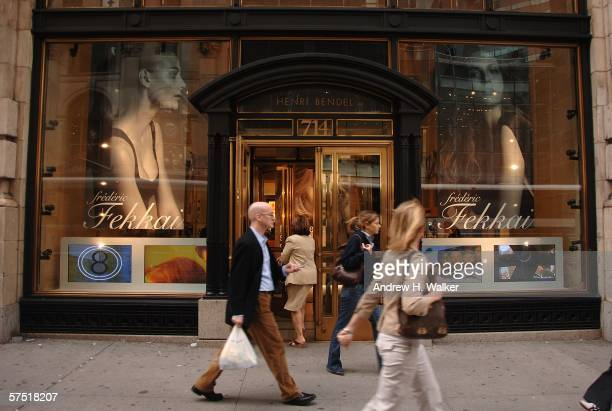 The Henri Bendel store as seen from Madison Avenue announcing the opening of Frederic Fekkai Salon and Spa at Henri Bendel on May 2 2006 in New York...