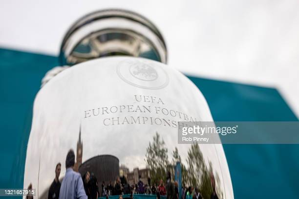 The Henri Delaunay trophy displayed at an event outside King's Cross Railway Station as the UEFA Euro 2020 trophy arrives in London 04, 2021 in...