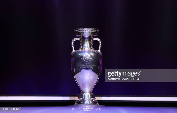 The Henri Delaunay Trophy is seen ahead of the UEFA Euro 2020 Final Draw Ceremony at Romexpo on November 30, 2019 in Bucharest, Romania.