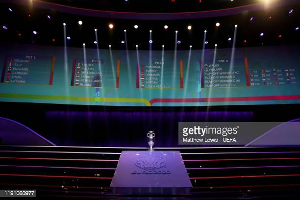 The Henri Delaunay Trophy is seen ahead of the UEFA Euro 2020 Final Draw Ceremony at Romexpo on November 30 2019 in Bucharest Romania