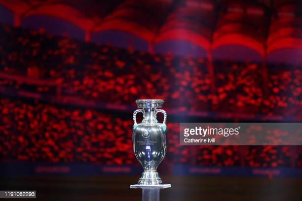 The Henri Delaunay Trophy is seen on stage after the UEFA Euro 2020 Final Draw Ceremony at the Romexpo on November 30 2019 in Bucharest Romania