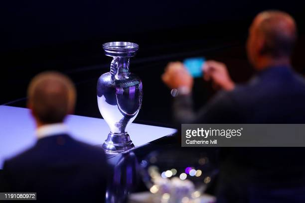 The Henri Delaunay Trophy is seen on the stage during the UEFA Euro 2020 Final Draw Ceremony at Romexpo on November 30, 2019 in Bucharest, Romania.