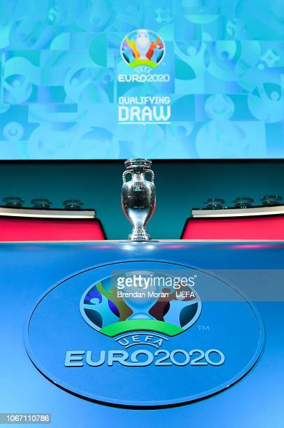 The Henri Delaunay Trophy on stage during the UEFA Euro 2020 Draw Previews on December 1 2018 in Dublin Ireland