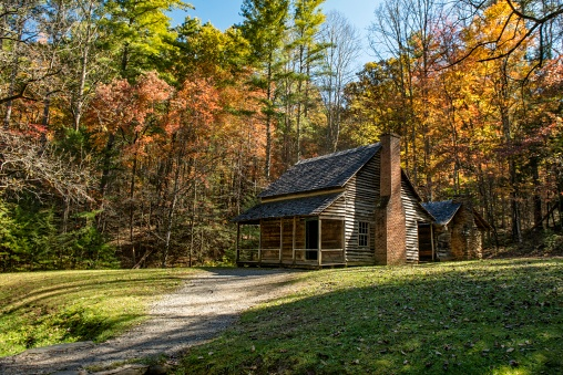 The Henry Whitehead homestead located in Cades Cove in the Great Smoky Mountains National Park is surrounded by colorful fall foliage. - gettyimageskorea