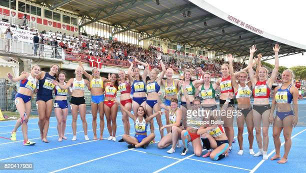 The Heptathlon Women's athletes after the last race during European Athletics U20 Championships on July 21 2017 in Grosseto Italy