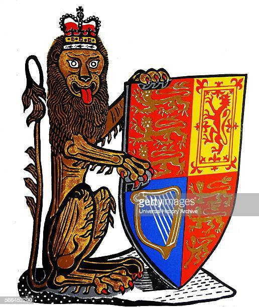 The Heraldic Lion of England The first and fourth quadrants represent England and contain three gold lions passant on a red field the second quadrant...
