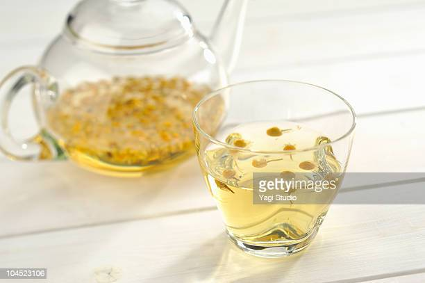 The herb tea which a glass teapot and a cup contai