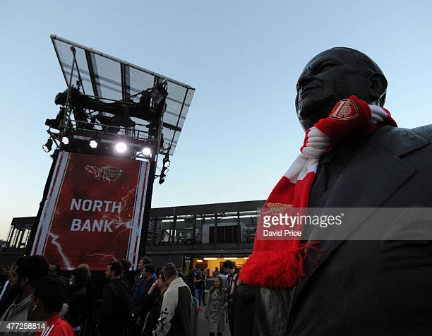 The Herbert Chapman statue at the Puma Home kit Launch at Emirates Stadium on June 15 2015 in London England