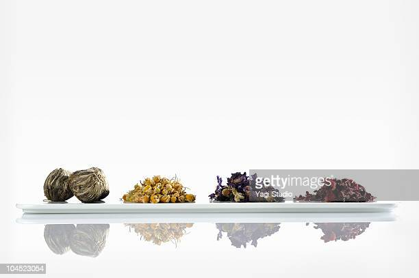 The herbs arranged in the plate