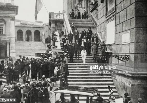 The hereditary Prince Umberto descending from the Capitol after distributing medals to the civilian value Rome Italy World War I photo by...
