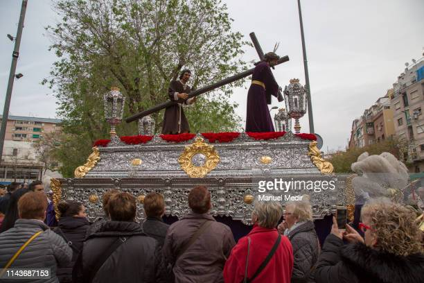 The 'Hermandad 151' are seen during the 'Semana Santa' procession on April 19 2019 in Hospitalet de Llobregat Spain The 15 1 religious brotherhood is...