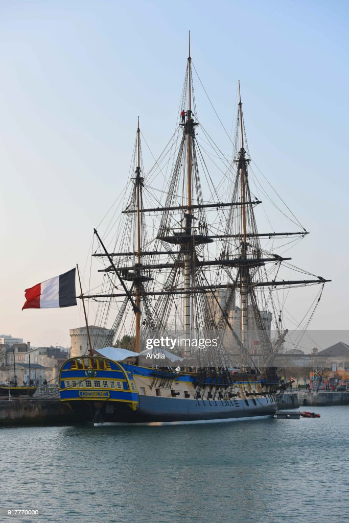 The Hermione frigate alongside the quay in the basin 'bassin des chalutiers' in the Old Port of La Rochelle on . The Hermione achieved fame by ferrying General Lafayette to the United States in 1780. The Hermione - La Fayette association launched a project of reconstruction of the Hermione frigate, the ship which allowed La Fayette to join the American insurgents in the struggle for their independence in 1780. The Hermione's first voyage in 2015 will take her across the Atlantic again, from France to Boston, USA.