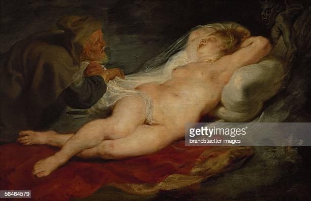 The Hermit and Sleeping Angelica Oil on oakwood Around 16261628 [Der Eremit und die schlafende Angelika oel auf Leinwand Um 16261628]
