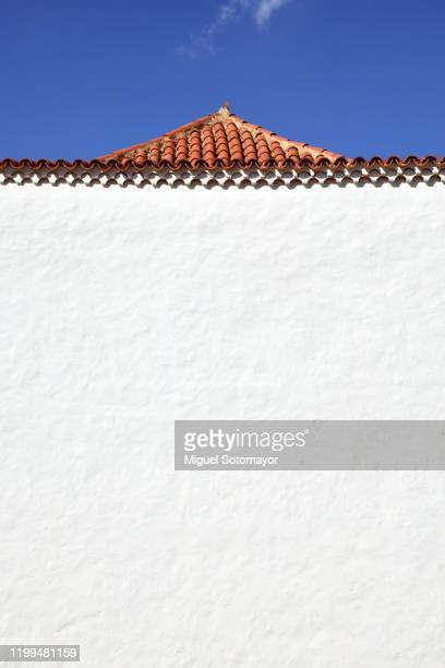 the hermitage and sanctuary of our lady of the rock, betancuria, fuerteventura - roof tile stock pictures, royalty-free photos & images
