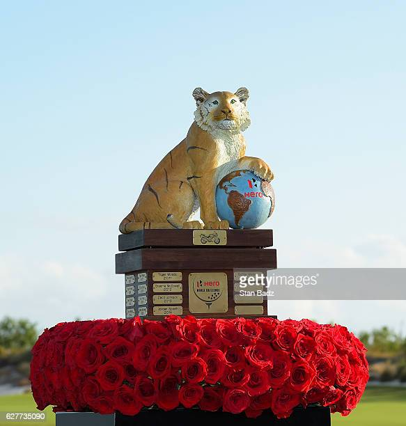 The Hero World Challenge Trophy is displayed on the 18th green during the final round of the Hero World Challenge at Albany course on December 4 2016...