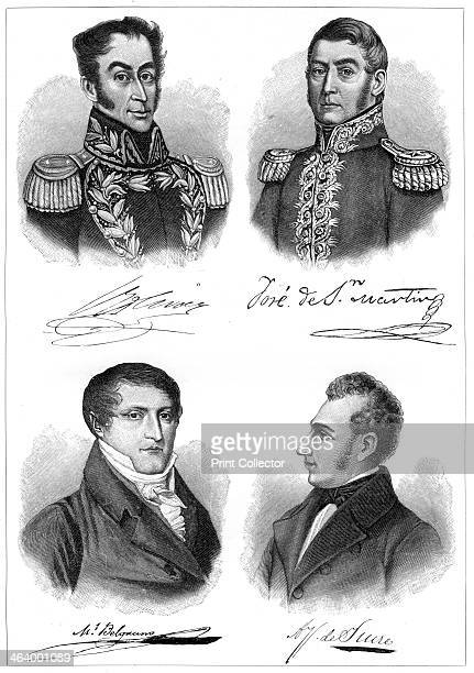 The heroes of South American independence Simon Bolivar Jose de San Martin Manuel Belgrano and Antonio Jose de Sucre A print from The World's History...