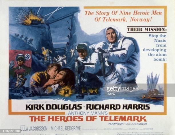 The Heroes Of Telemark poster from left Kirk Douglas Ulla Jacobsson Richard Harris Kirk Douglas 1965