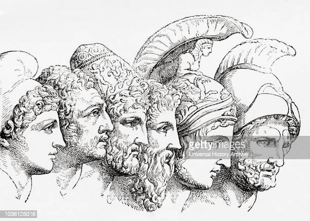 The heroes of the Trojan War From left to right Paris Diomedes Odysseus Nestor Achilles and Agamemnon From Ward and Lock's Illustrated History of the...
