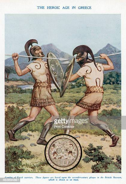 'The Heroic Age in Greece' combat of Ancient Greek warriors These figures are based upon the seventhcentury plaque in the British Museum which is...