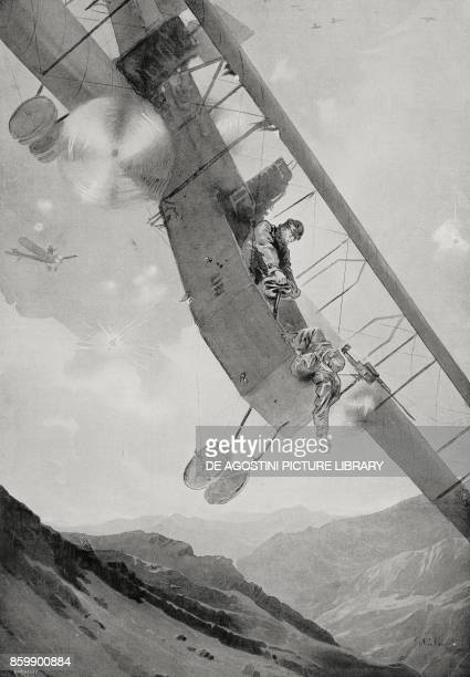 The heroic and tragic flight of Captain Oreste Salomone during the air raid on Ljubljana World War I drawing by Giuseppe Palanti from L'Illustrazione...