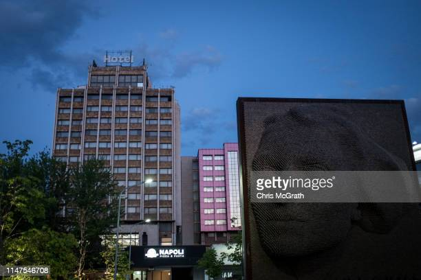 The Heroinat Memorial, constructed to represent the face of Kosovar women is seen on May 3, 2019 in Pristina, Kosovo. A recent EU-backed summit...
