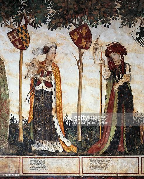 The heroines detail of 15th century fresco Ballroom or Room of the Frescoes Castle of Manta Saluzzo Piedmont Italy