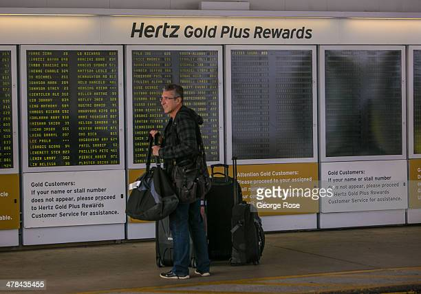 The Hertz rental car bus Gold Plus Rewards stop at Los Angeles International Airport is viewed on March 3 in Los Angeles California Millions of...