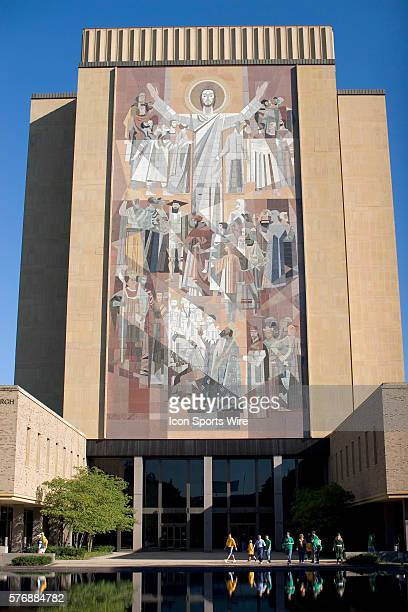 The Hesburgh Library and mural of Touchdown Jesus on the campus of the University of Notre Dame in South Bend Indiana Construction of the Hesburgh...